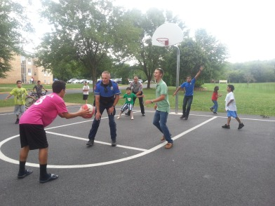 Officers Playing Basketball