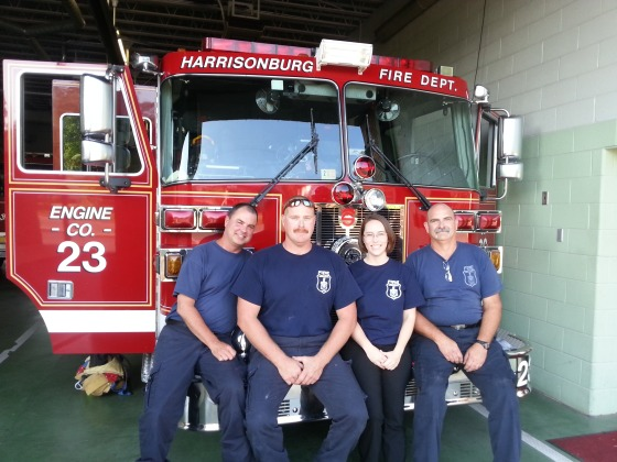 Jess with the some of the guys of Engine 23