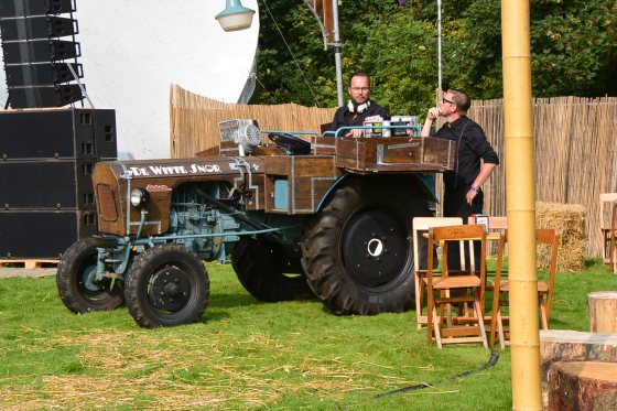 DJ  was doing his thing from a tractor...with real vinyl records. You cant get cooler than that!